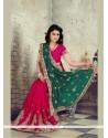 Glowing Faux Chiffon Hot Pink Designer Saree