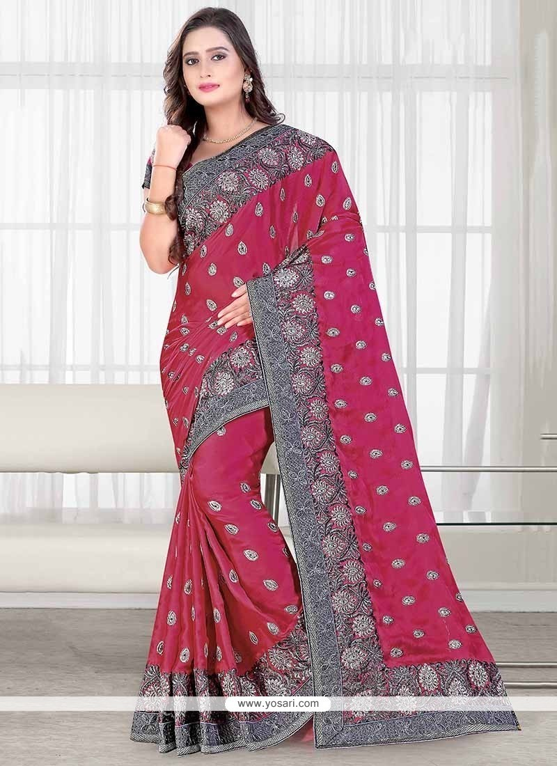 Aristocratic Faux Chiffon Embroidered Work Trendy Saree