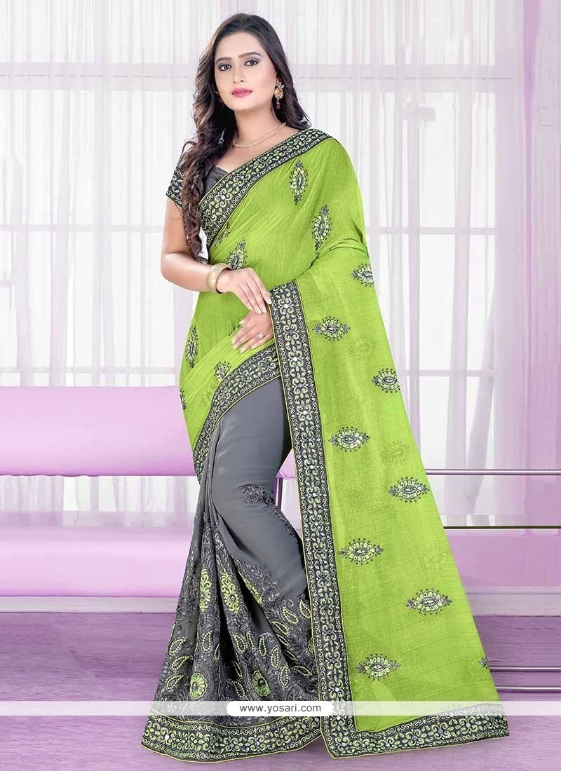 Integral Georgette Patch Border Work Trendy Saree