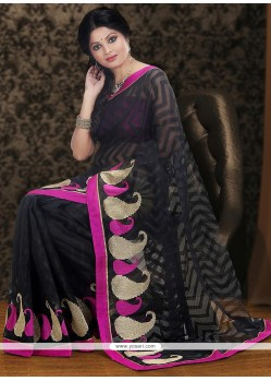 Fascinating Black Net Saree
