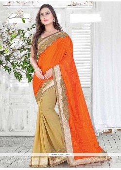Imperial Orange Embroidered Work Silk Classic Saree