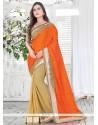 Imperial Orange Embroidered Work Silk Classic Saree