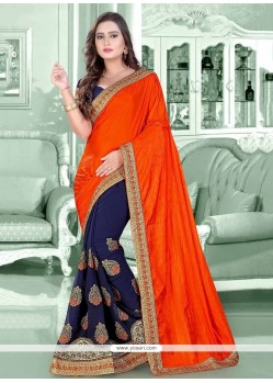 Dashing Silk Navy Blue Patch Border Work Trendy Saree