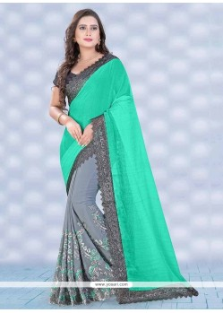 Tiptop Grey Patch Border Work Georgette Classic Saree
