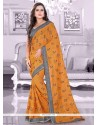 Groovy Faux Chiffon Patch Border Work Trendy Saree