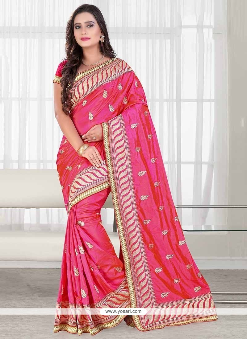 Renowned Rose Pink Patch Border Work Classic Saree