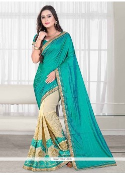 Capricious Embroidered Work Cream Trendy Saree