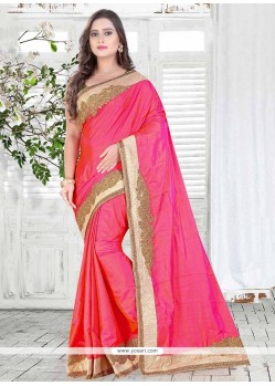 Distinctively Embroidered Work Silk Designer Saree
