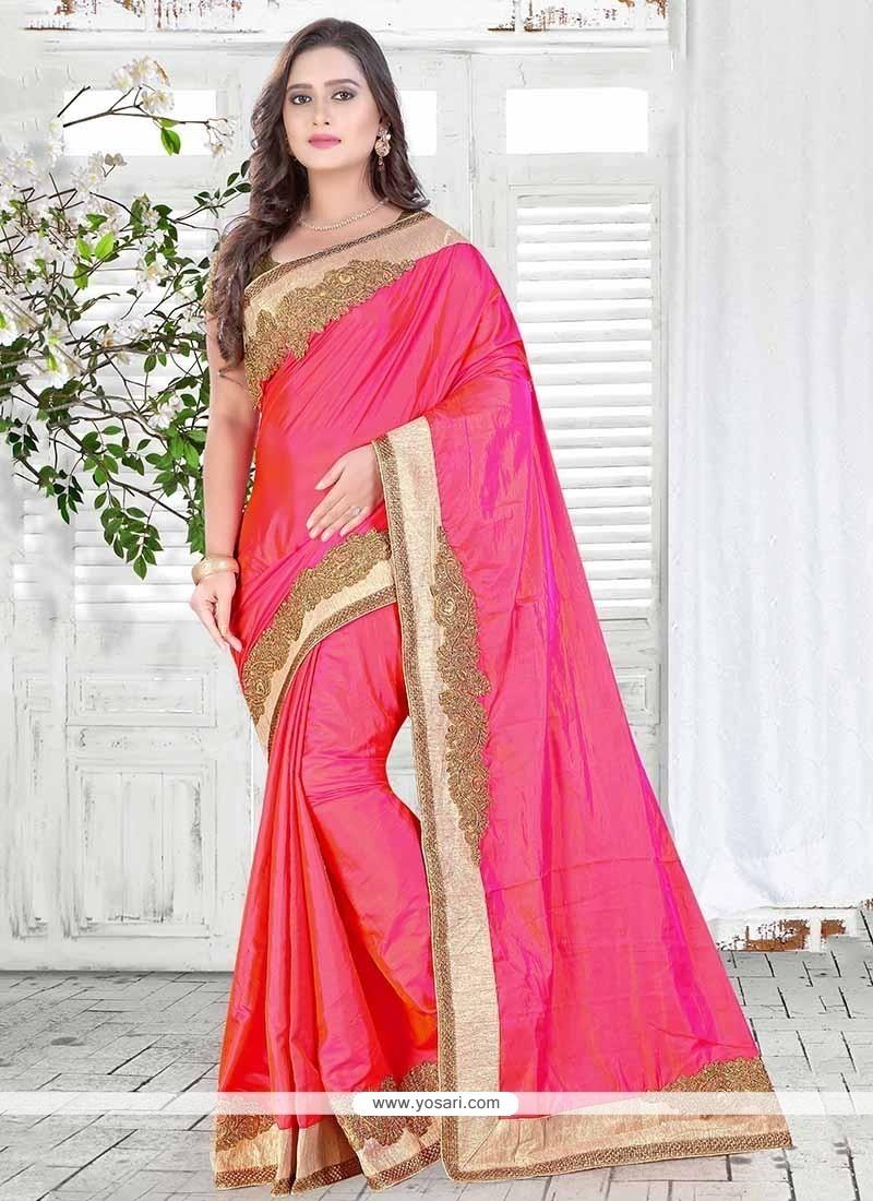 Distinctively Embroidered Work Silk Designer Saree