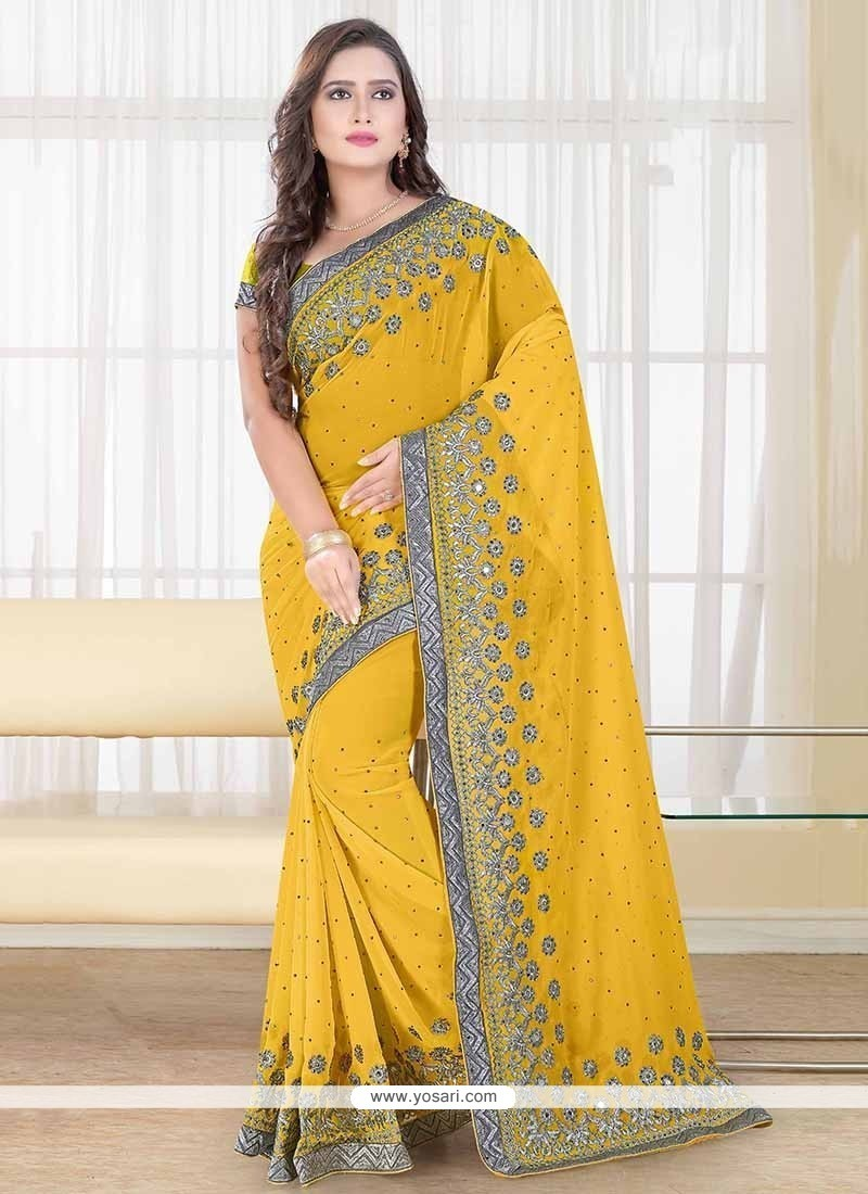 Flattering Yellow Embroidered Work Designer Traditional Sarees