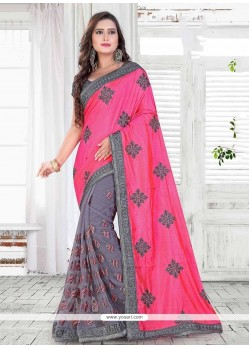 Precious Grey Patch Border Work Net Classic Saree