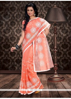 Fabulose Peach Supernet Saree