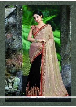 Bedazzling Patch Border Work Black Lycra Classic Saree