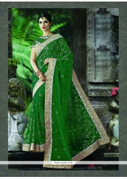 Attractive Net Green Designer Traditional Sarees