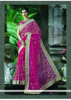Snazzy Net Magenta Classic Designer Saree