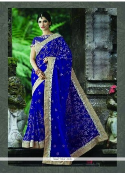 Chic Patch Border Work Net Designer Saree
