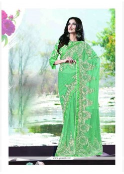 Mesmerizing Green Satin Classic Saree