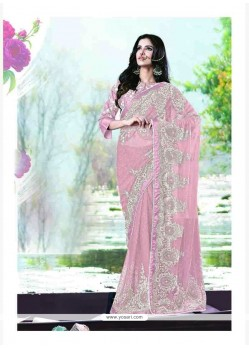 Ideal Embroidered Work Pink Classic Saree