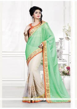 Distinguishable Embroidered Work Green Classic Saree
