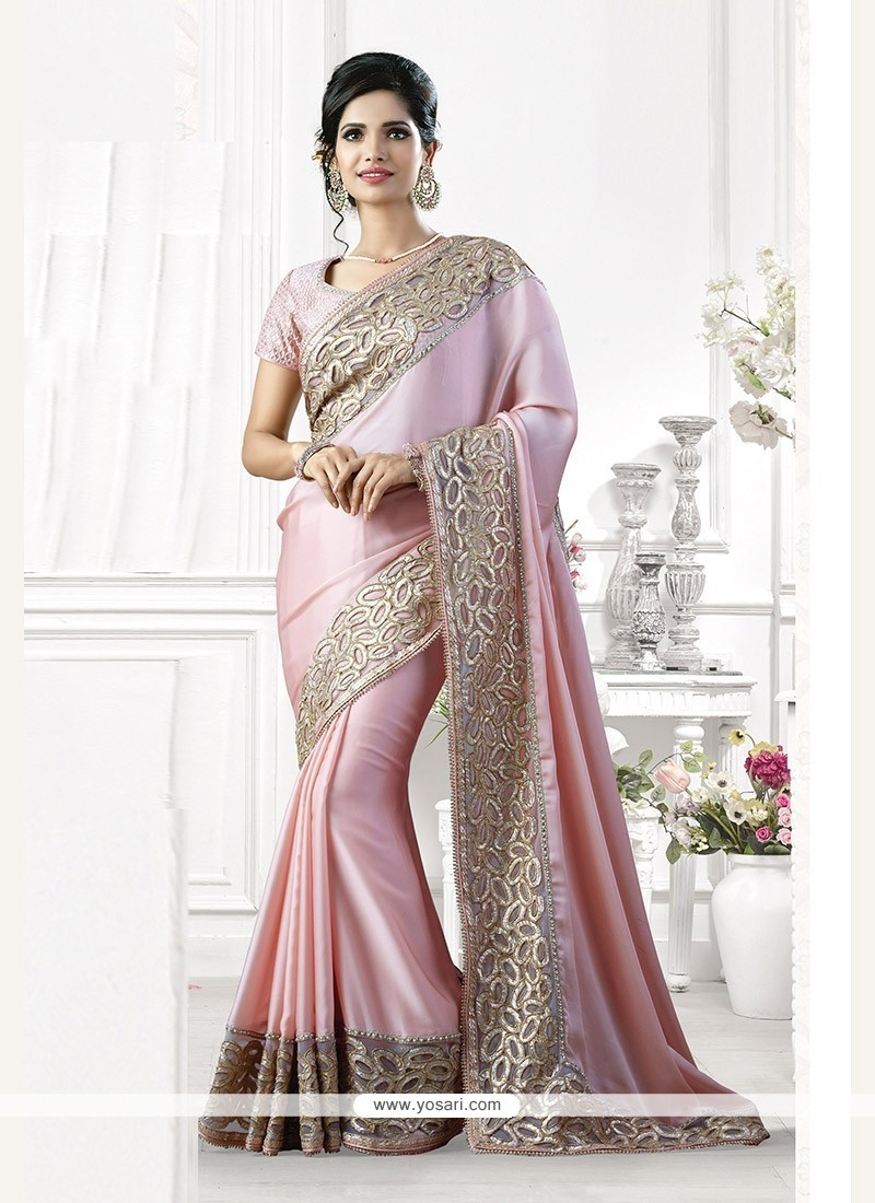 Intricate Pink Embroidered Work Silk Classic Saree