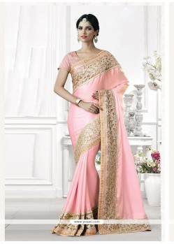 Invigorating Net Pink Patch Border Work Classic Designer Saree