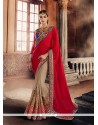 Imposing Red Embroidered Work Georgette Traditional Saree