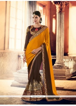 Beautiful Brown Patch Border Work Trendy Saree