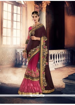 Mod Magenta Embroidered Work Georgette Classic Saree
