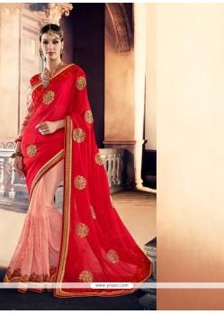 Transcendent Pink Georgette Designer Traditional Sarees