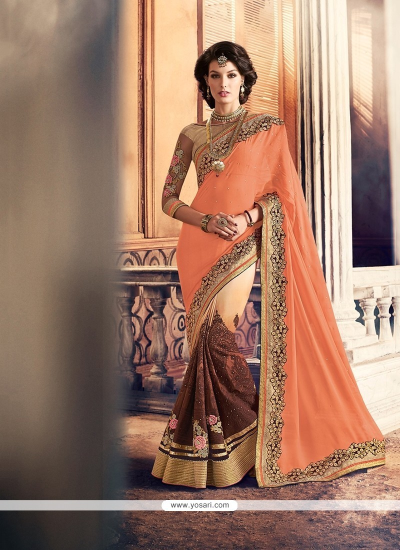 Blissful Beige And Brown Patch Border Work Georgette Classic Saree