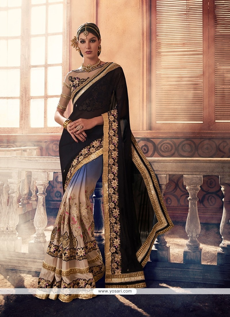 Magnetic Georgette Embroidered Work Classic Saree