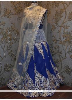 Unique Silk Navy Blue A Line Lehenga Choli