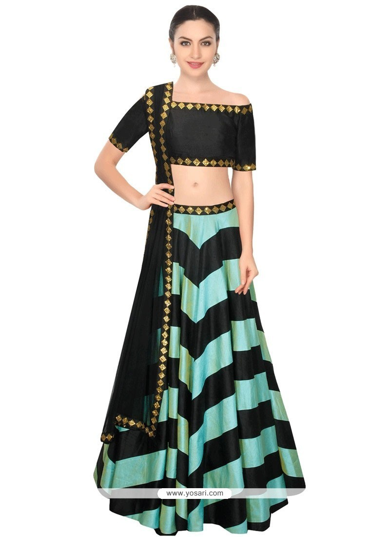 Bedazzling Raw Silk Black Sequins Work A Line Lehenga Choli