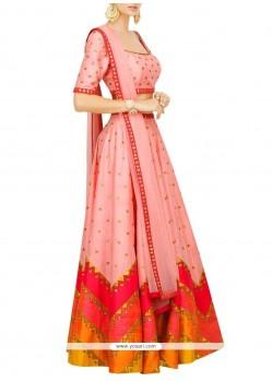 Genius Rose Pink Embroidered Work Raw Silk Designer Lehenga Choli