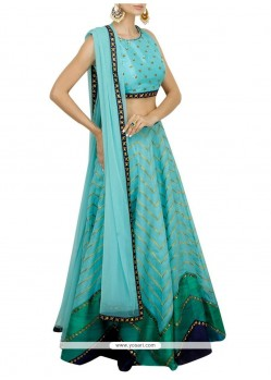 Thrilling Blue Embroidered Work Designer Lehenga Choli