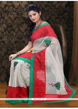 Fab Off White And Red Supernet Saree