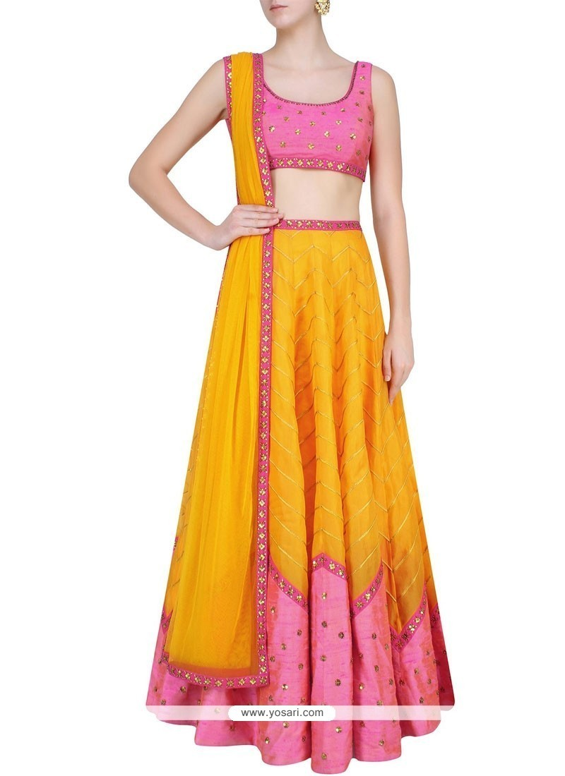Affectionate Orange Print Work Raw Silk A Line Lehenga Choli