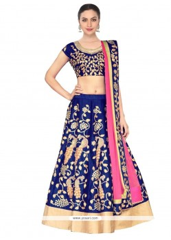 Fine Raw Silk Blue A Line Lehenga Choli