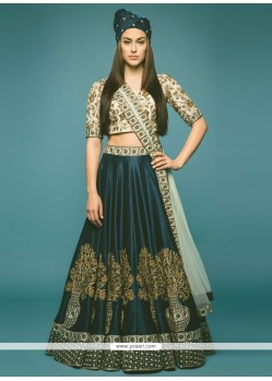 Miraculous Raw Silk Embroidered Work A Line Lehenga Choli