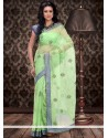 Deserving Green Supernet Saree