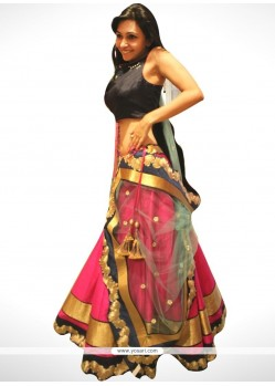 Superlative Embroidered Work Pink Designer Lehenga Choli