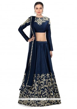 Best Raw Silk Navy Blue Embroidered Work A Line Lehenga Choli