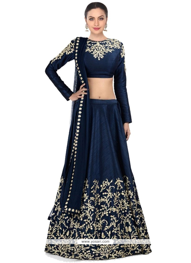 Buy Best Raw Silk Navy Blue Embroidered Work A Line Lehenga Choli ...