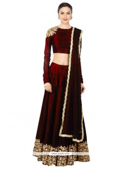 Exceeding Raw Silk Maroon Embroidered Work Designer Lehenga Choli