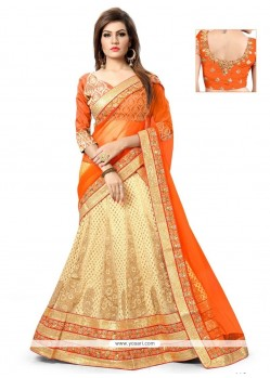 Captivating Patch Border Work Beige And Orange A Line Lehenga Choli