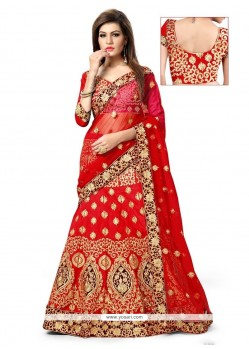 Honourable Red Art Silk A Line Lehenga Choli