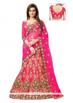 Hot Pink Stone Work A Line Lehenga Choli