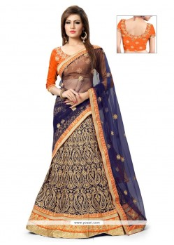 Entrancing Patch Border Work Net A Line Lehenga Choli
