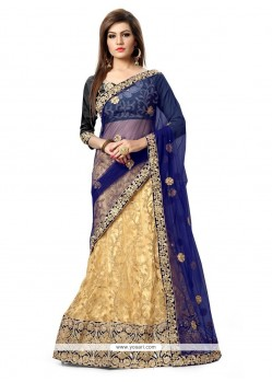 Desirable Patch Border Work Beige And Navy Blue Art Silk A Line Lehenga Choli