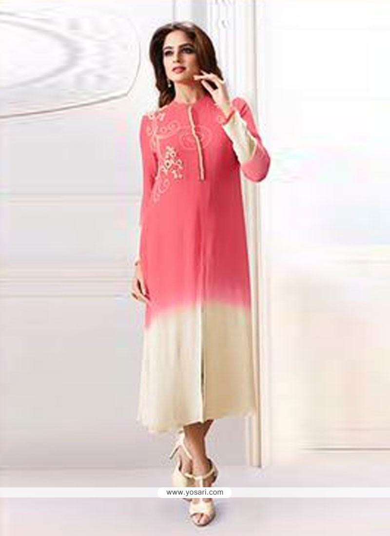 Miraculous Resham Work Chanderi Pink Designer Kurti